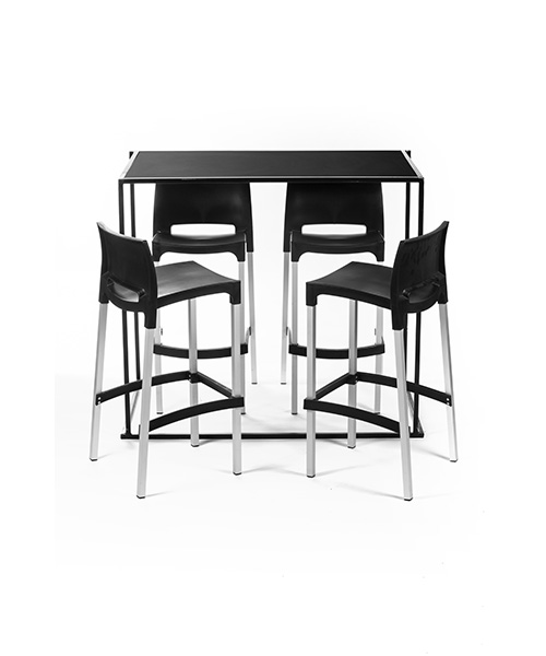 Mange Debout Rectangle Noir 4 Tabourets En Location